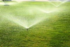 Arroseuse de jardin sur la pelouse verte Photographie stock libre de droits