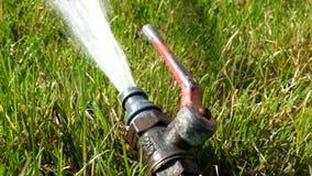 Arroseuse de l'eau dans le fonctionnement frais d'herbe verte clips vidéos