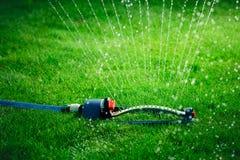 Arroseuse de pelouse stérilisant l'eau au-dessus de l'herbe verte Image libre de droits