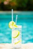 Arrosez avec de la glace au bord d'une piscine de station de vacances Concept du luxe v Photographie stock