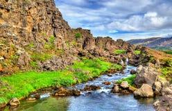 Arrosez dans une fissure entre les plaques tectoniques en parc national de Thingvellir, Islande photos libres de droits