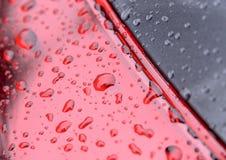 Arrosez des baisses de pluie perlant sur la surface grise et rouge image stock