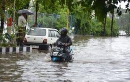 Arrosez la notation due à la forte pluie à Bhopal, image libre de droits