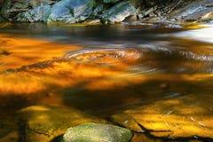 Arrosez la rotation sur la surface de rivière dans le jour ensoleillé Mumlava, montagnes géantes, République Tchèque Photo libre de droits