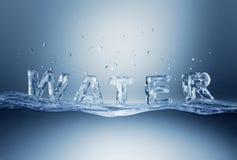 Arrosez le lettrage sur la surface de ondulation de l'eau. Photographie stock