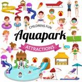 Arrosez le terrain de jeu d'aquapark avec des glissières et éclaboussez les protections pour l'illustration de vecteur d'amusemen Photographie stock