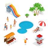 Arrosez le terrain de jeu de parc d'attractions avec des glissières et les protections d'éclaboussure pour l'amusement de famille Images stock