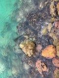 Arrosez sur les roches sur la plage dans le cana de punta Images stock