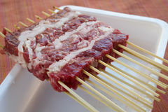 Arrosticini rather skewers of castrated sheep's meat Stock Photography