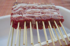 Arrosticini rather skewers of castrated sheep's meat Royalty Free Stock Images