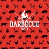Arrostisca col barbecue il logo sul modello senza cuciture rosso, illustrazione di vettore royalty illustrazione gratis