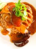 Arrostisca col barbecue la carne di maiale rossa con riso, alimento popolare della via fotografie stock libere da diritti