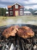 Arrostisca col barbecue la griglia con la bella natura e la casa nei precedenti fotografia stock