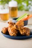 Arrostisca col barbecue le ali di pollo calde con le birre al giardino del pub Immagini Stock Libere da Diritti