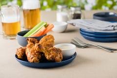 Arrostisca col barbecue le ali di pollo calde con le birre al giardino del pub Fotografia Stock Libera da Diritti