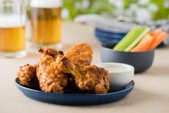 Arrostisca col barbecue le ali di pollo calde con le birre al giardino del pub Immagine Stock