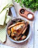 Arrostisca il piccione con aglio, prezzemolo, rosmarini, sale marino e pepe Fotografia Stock