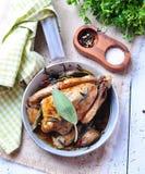 Arrostisca il piccione con aglio, prezzemolo, rosmarini, sale marino e pepe Immagini Stock Libere da Diritti