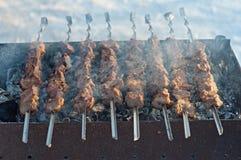 Arrostisca la carne di giovani maiali su uno sputo Immagini Stock Libere da Diritti