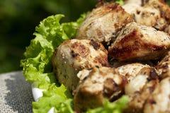 Arrostito chi?ken la carne con lattuga Fotografie Stock Libere da Diritti