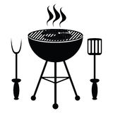 Arrosto del pesce sulla griglia del barbecue Fotografia Stock