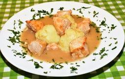 Arrosto di maiale con salsa e le purè di patate Fotografia Stock Libera da Diritti