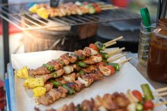 Arrosto di maiale e del barbecue immagine stock libera da diritti