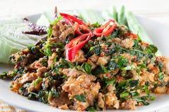 Arrosto di manzo con il betel selvatico Leafbush, alimenti tailandesi Fotografia Stock Libera da Diritti