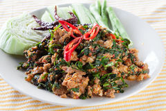Arrosto di manzo con il betel selvatico Leafbush, alimenti tailandesi Fotografie Stock