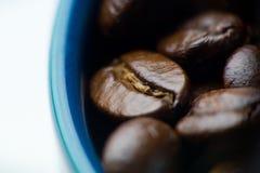 Arrosto scuro aromatico dei chicchi di caffè in una foto blu di macro della ciotola Fotografia Stock Libera da Diritti