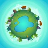 Arround the world circular panorama park forest view miniature planet concept with grass field . green peace nature , plants and f. Lowers . ecology concept vector illustration