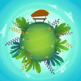 Arround the world circular panorama park forest view miniature planet concept with grass field . green peace nature , plants. And flowers . ecology concept stock illustration