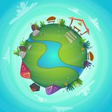 Arround the world circular panorama park forest view miniature planet concept with grass field . green peace nature , plants and f. Lowers . ecology concept royalty free illustration
