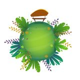 Arround the world circular panorama park forest view miniature planet concept with grass field . green peace nature , plants and f. Lowers . ecology concept stock illustration