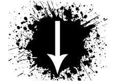 Arrow. Down white arrow arrow in black grunge background eps Stock Photo