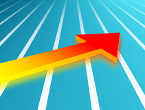 Arrow. Red and orange arrow over blue striped background Royalty Free Stock Photos