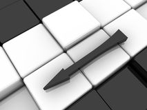 Arrow. Surface consisting of 3d black and white squares Royalty Free Stock Images