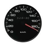Arrow. Speedmeter of the car exceeding speed on a motorway Stock Photo