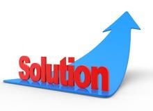 Arrow. 3d an arrow and word  solution Stock Photos