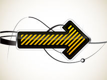 Arrow. Vector arrow pointer black and yellow colors Royalty Free Stock Image