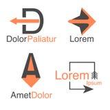 Arrow abstract logo template.  Company logotypes and symblos. Vector arrow icon. Arrow abstract logo template. Up arrow, cursor arrow icon, arrowheads. Arrow Stock Image