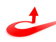 Arrow aiming high. Red arrow aiming high. Rendered image Stock Photography