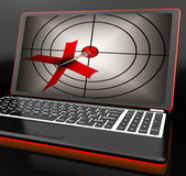 Arrow Aiming On Laptop Shows Efficient Shot Stock Image