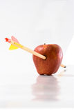 Arrow Through an Apple. Arrow piercing an apple, isolated on white background - full focus Stock Images