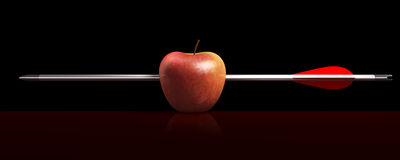 Arrow apples a hit in black stock photo