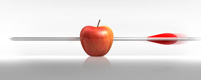 Arrow apples a hit in white stock image
