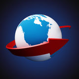 Arrow around Earth Stock Photo