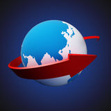 Arrow around Earth Stock Images