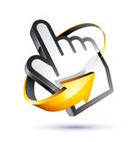 Arrow around hand cursor Stock Photo