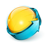 Arrow around spherical button Royalty Free Stock Photography